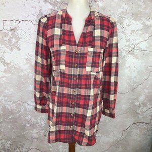 Anthropologie Red Plaid Flannel Top 4 NWT